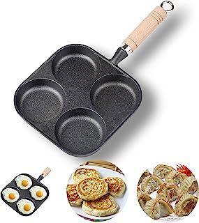 NEWANOVI 重型铸铁鸡蛋煎锅 不粘煎锅 带4孔煎饼煎蛋汉堡平底锅 兼容所有加热源
