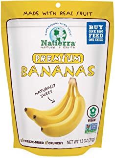NATIERRA® Premium Freeze-Dried Bananas   Non-GMO & Vegan   1.3 Ounce (Pack of 8)
