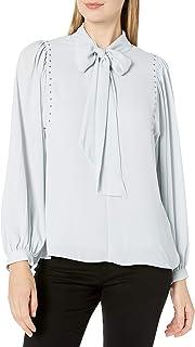Vince Camuto 女式长袖泡肩装饰前系带衬衫