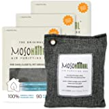 MOSO NATURAL 空气净化袋 竹炭空气清新剂 *剂 *剂 汽车和壁橱用异味 灰亚麻 3 Pack