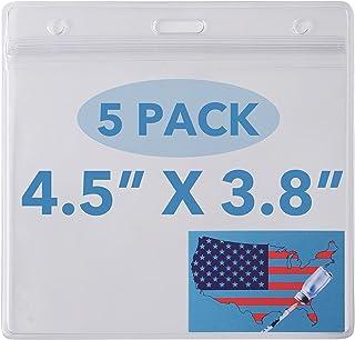HAOWIN 大号尺寸 11.4 厘米 x 9.7 厘米 CDC 疫苗卡片夹,带联系卡的疫苗卡盒,防水*卡夹,适用于疫苗接种卡(5 件装)