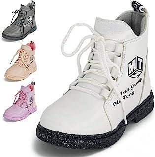儿童女孩雪地靴 2020 新款靴户外保暖鞋防水徒步女孩男孩靴时尚橡胶儿童马丁靴系带靴户外短靴