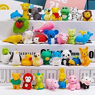 CLESDF 铅笔橡皮动物园动物橡皮擦 - 32 件装拼图橡皮擦 适合儿童的游戏*、嘉年华和学校用品