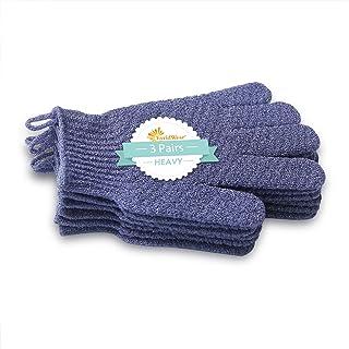 EvridWear 去角质背部磨砂膏,两面带手柄,深层清洁皮肤,按摩活力*,男女均码 3Pairs Heavy Gloves