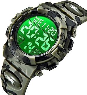 儿童手表,军*迷彩男孩运动手表 LED 数字*户外多功能 LED 50M 防水闹钟日历手表,带硅胶表带