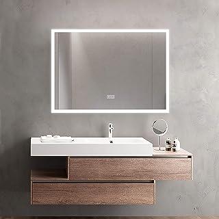 MiraHope LED 镜子 洗脸台 浴室镜 洗脸台 带照明功能 防雾 防水 时尚 led后视镜 (白光70×50厘米)