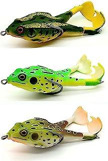 Bass Lures 青蛙软青蛙诱饵,旋转腿螺旋桨更大飞溅,更有吸引力,3D *,更逼真皮肤,更有吸引力,钓鱼诱饵 3.5 英寸/0.5 盎司,旋转诱饵 3 件青蛙诱饵