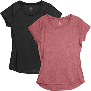 icyzone 健身女式跑步衬衫 - 健身健身健身瑜伽锻炼插肩短袖 T 恤(2 件装)