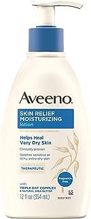 Aveeno 艾惟诺 舒缓肌肤的24小时保湿乳液,具有天然乳木果油和三重燕麦复合物,适合敏感肌肤,无香型乳液,适用于超干燥,发痒的皮肤,共12液体盎司/354毫升