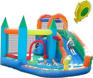 ALIFUN 充气水滑梯公园弹跳屋儿童滑梯城堡派对别墅溅水泳池充气 带450W 空气鼓风机
