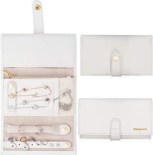 Wavymarts 旅行珠宝收纳卷可折叠盒包括戒指、项链、手链和耳环的支架、旅行存储解决方案、送给女性的礼物白色