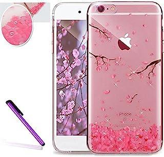 iPhone 6S 手机壳,iPhone 6 手机壳,iPhone 6s 手机壳,LEECOCO 创意印花透明 TPU 软后盖手机壳适用于 Apple iPhone 6/6S + 1 张屏幕保护膜 A Cherry Blossoms