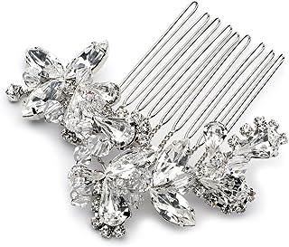 USABride Vibrant Crystal Hair Comb, Rhinestone Bridal Hair Accessory 2222