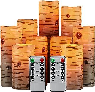 Pandaing Nine Birch Bark Effect 无焰装饰蜡烛电池供电柱状真蜡闪烁 LED 蜡烛灯套装带遥控计时器
