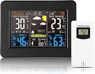 无线气象站,室外时钟传感器数字气象站,带气压计,温度,湿度监测器,家庭卧室花园的天气预报,黑色