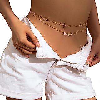 性感沙滩比基尼魅力身体链女式 BABYGIRL 字母可调节双肚腰链