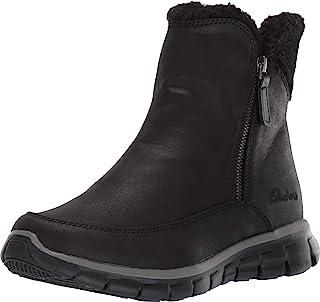 Skechers 斯凯奇 Synergy-Short Quarter 拉链短靴,带夏尔巴装饰雪