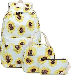 "BLUBOON 青少年背包套装帆布女孩书包,书包 3 合 1 Sunflower White 12""Lx6.5""Wx17""H"