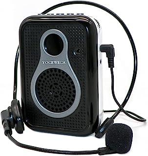 YOCEWECA 便携式语音放大器 带耳机麦克风 - 10W 个人扬声器带麦克风有线小型语音放大系统,适用于教师、教练、旅游指南、瑜伽、会议等 - 黑白