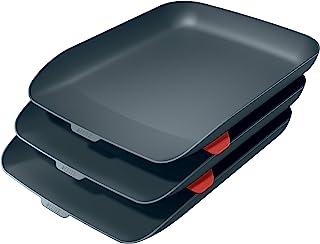 Leitz 利市 A4 信纸托盘 三件套 舒适系列 天鹅绒灰 53582089
