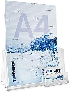DIN A4 桌面宣传册支架,可作为稳定的宣传册支架和支架,带额外的名片夹