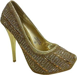 Bella Marie 女式 Cammy-18 厚底闪光水钻细高跟鞋