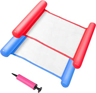 Welecom 2 件套充气泳池浮标便携式水吊床多功能充气泳池吊床,带手动充气泵,适用于成人浮动泳池,海滩(蓝色和红色)