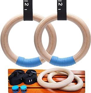 Chilly Wood 体操环直径 1.26 英寸/3.2 厘米,可调节凸轮扣 14.76 英尺/4.5 米长,1.5 英寸/3.8 厘米宽肩带锻炼奥运环,用于力量训练健身家庭锻炼