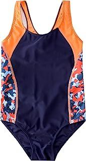 M2C 女童厚肩带工字背连体泳衣印花拼接泳衣