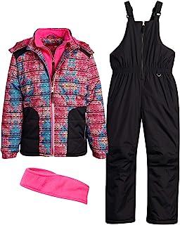 Pink Platinum 女童防雪服 - 防水羊毛衬里冬季滑雪夹克和滑雪裤整体套装(幼儿/女孩)