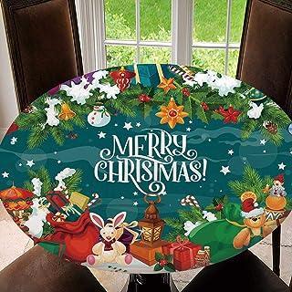 SUPNON 户外桌布防水防溢涤纶桌布假日贺卡适用于庭院花园桌面装饰 SW11374 适合51-55英寸(约129.5-139.7厘米)桌子
