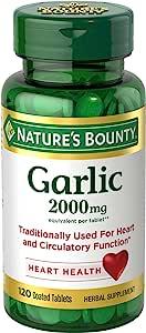Nature's Bounty 自然之宝 大蒜提取物 膳食补充剂 2000 毫克 120 片 (4 瓶装)