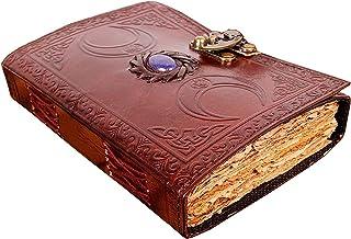 皮革装订日记本,适合女士男士雕刻的阴影书空白拼写巫术笔记本三月光无衬里甲板边缘纸复古日记本旧锁棕色书,适合旅行者和作家使用
