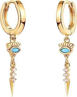 Mevecco 金色精致吊坠环状耳环女式 14K 镀金精致可爱几何三角形圆锥吊坠耳环