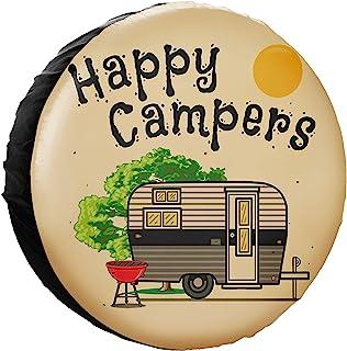 HAINANBOY Happy Camper 备用轮胎罩 PVC 容器 可擦拭防尘保护轮罩 防风雨 适用于拖车 RV SUV 卡车 露营车 旅行拖车配件 15 英寸