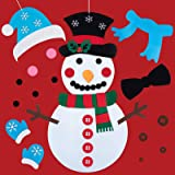 Brightown DIY 毛毡雪人套装 儿童用 30 个 3D 钩环装饰品 圣诞礼物 幼儿墙壁和门挂游戏 圣诞节假日装…