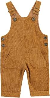 Maemukilabe 幼儿女婴男孩秋冬季工装裤灯芯绒背带裤连身衣背带裤
