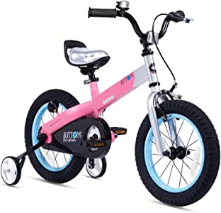 Royalbaby Matte Button Kids' Bike with Training Wheels Perfect Gift for Kids. 14 Inch wheels, Pink