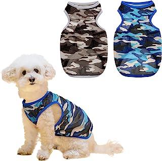 Preferhouse 狗狗衬衫 2 件装迷彩 T 恤适合小狗透气迷彩狗狗衣服速干小狗背心宠物服装适合小型犬猫 (M)