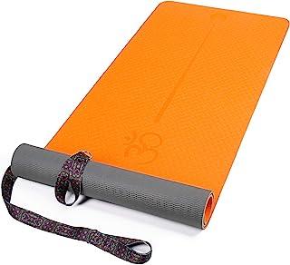 XGEAR 瑜伽垫,带背带 - 防滑纹理表面 - 环保运动垫 - 锻炼和健身垫 带对齐线 适用于瑜伽、普拉提和地板锻炼(182.88cm X 60.96cm X 0.64cm)