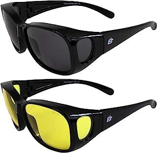 2 副 Birdz 眼镜孔雀 大号 OTG (眼镜罩)*眼镜黑色框架黄色和烟雾镜片