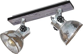 EGLO 天花板灯 Barnstaple,2 个灯泡,工业设计的复古天花板灯,复古壁灯,锌做旧外观,木材,颜色:棕色-铜色,黑色,灯座:E27