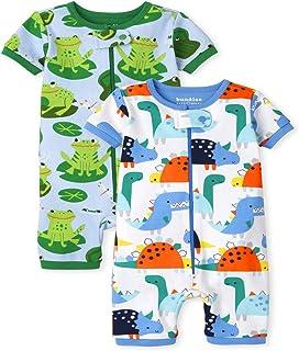 The Children's Place 婴幼儿男孩恐龙青蛙舒适棉质短款连体睡衣 2 件装