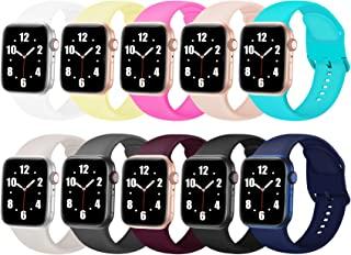 10 件装表带兼容 Apple Watch 表带 38 毫米 40 毫米 42 毫米 44 毫米 软硅胶运动替换表带,带定制彩色扣,适合女士男士,适用于 iWatch 表带系列 6 5 4 3 2 1 SE