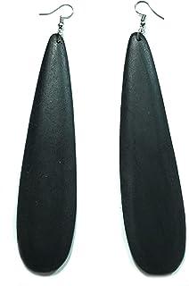 Teri's Boutique 长泪珠椭圆形天然木轻质垂坠波西米亚部落鱼钩耳环