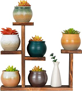 JOTBOOM 桌面植物支架 室内 5 层小型窗台花架 桌面花盆架 木质迷你多肉质支架 适用于家庭办公室桌