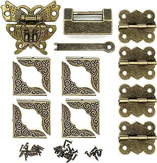 复古青铜蝴蝶 搭扣 复古挂锁锁闩 盒角保护器和蝴蝶铰链小型木盒 硬件套件 用于修复装饰首饰盒 复古设计