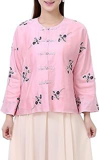 Bitablue 女式亚麻混纺花卉刺绣宽松上衣
