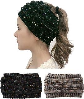 Peachat 女式头带冬季针织耳暖头套保暖绳针织弹力五彩纸屑