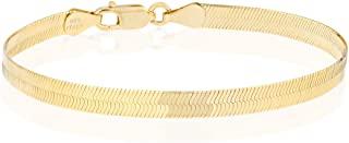 Miabella 18K 金超过 925 纯银意大利实心 4.5 毫米灵活平人字纹链手链男女适用 6.5、7.5、8 英寸意大利制造